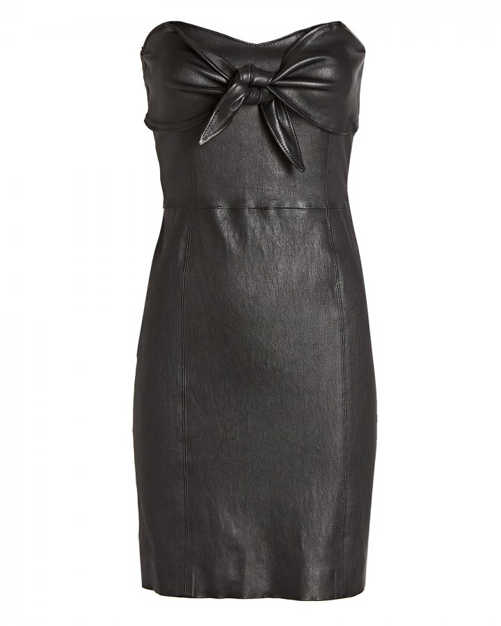 Leather Knotted Strapless Mini Dress