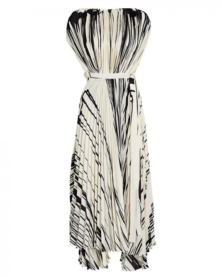 Pleated Brush Stroke Dress