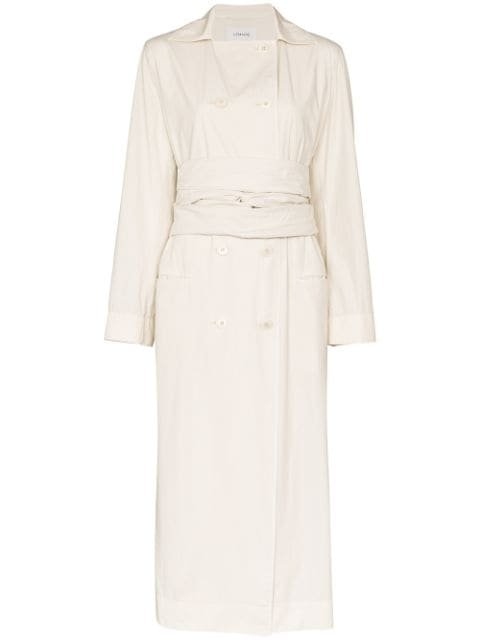 Lemaire Double Breasted Tie Waist Trench Coat Ss20 | Farfetch.com