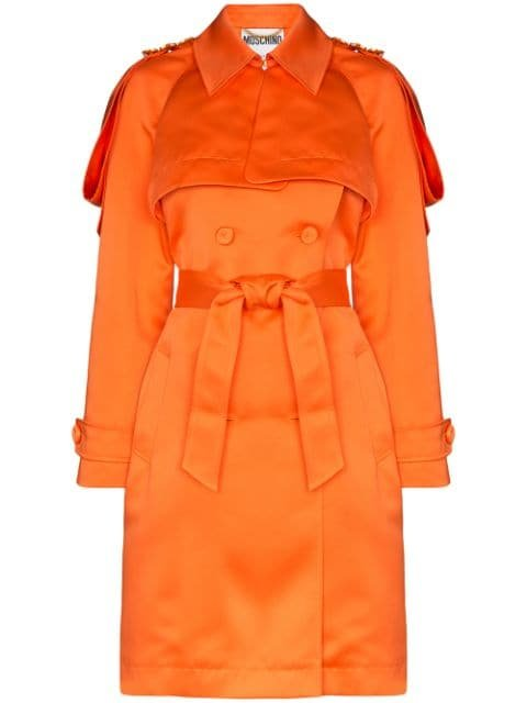 Moschino Embellished-Epaulette Trench Coat Ss20 | Farfetch.com