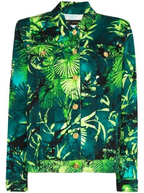 Versace Palm Print Denim Jacket Ss20 | Farfetch.com