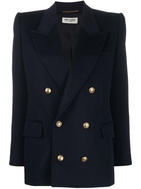 Saint Laurent Embossed-Buttons Double-Breasted Blazer Ss20 | Farfetch.com