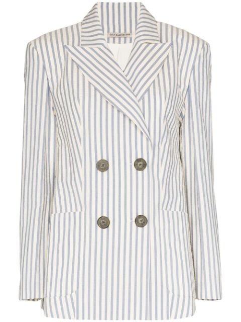 Vika Gazinskaya Double-Breasted Pinstriped Blazer Ss20 | Farfetch.com