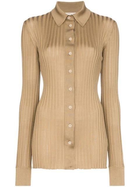 Bottega Veneta Ribbed-Knit Silk Shirt Ss20   Farfetch.com