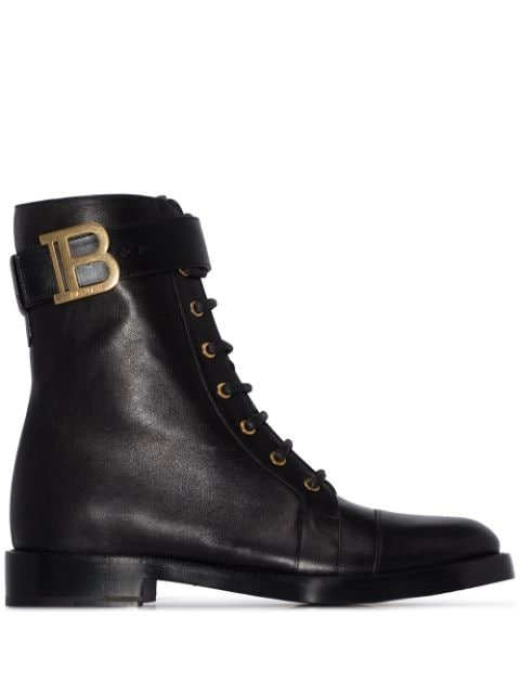 Balmain Ranger Lace-Up Leather Ankle Boots Ss20 | Farfetch.com