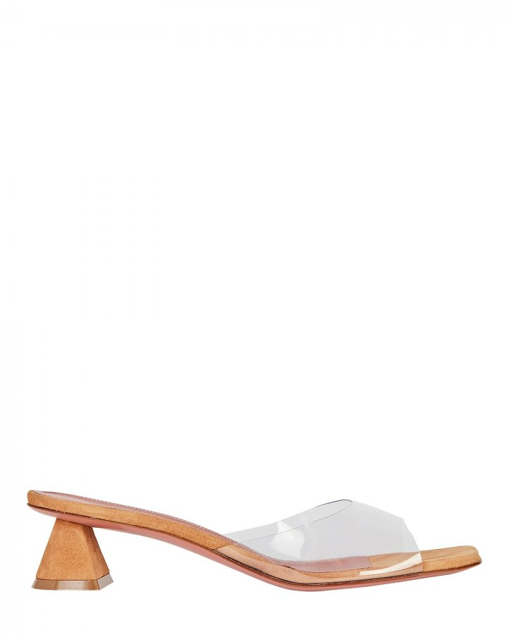 Lupita PVC-Trimmed Suede Sandals