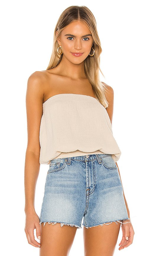 Beach Gauze Strapless Top