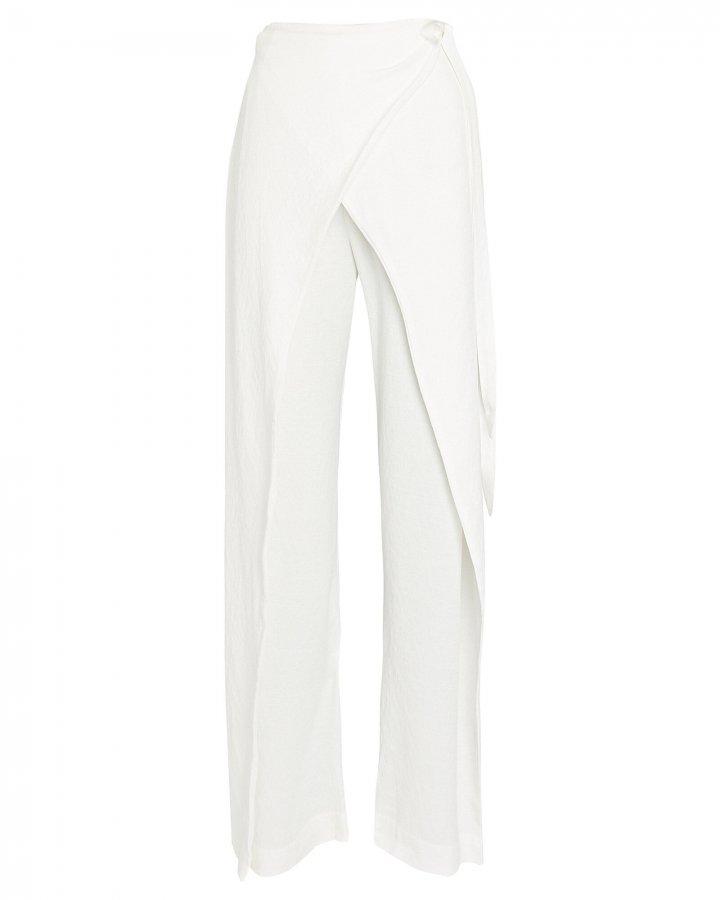 Claudette Wrap-Front Wide-Leg Pants