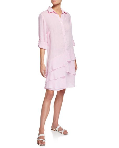 Jenna Washed Linen Shirtdress with Tiered Ruffles