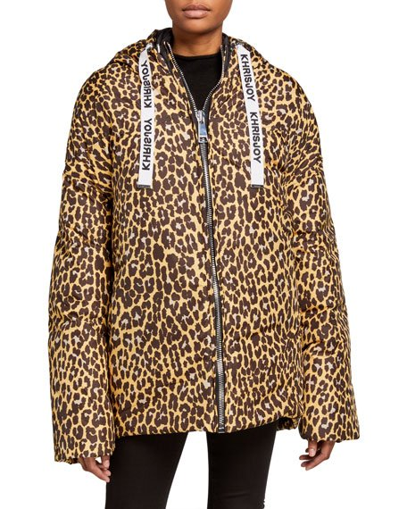New Joy Leopard=Print Puffer Coat