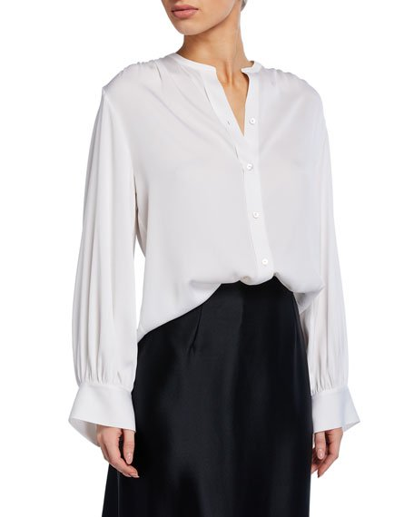Long-Sleeve Button-Front Shirred-Back Blouse