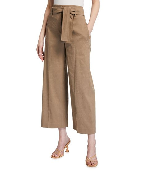 Eco Crunch Cropped Belted Pants