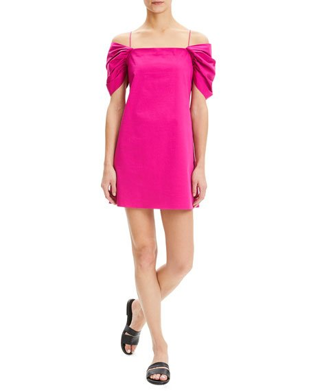 Cold-Shoulder Draped-Sleeve Mini Chino Dress