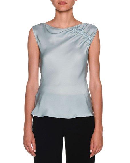 Ruched-Shoulder Sleeveless Silk Blouse, Aquamarine