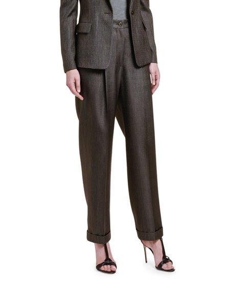 Wool-Silk High-Rise Wide Leg Pants