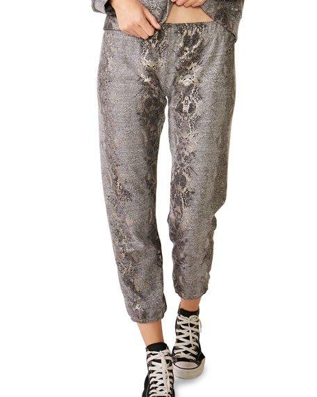 Foil Snake Elastic-Waist Sweatpants
