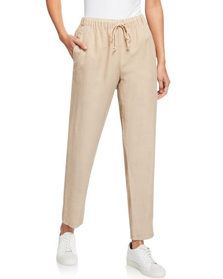 Drawstring Waist Tapered Ankle Pants