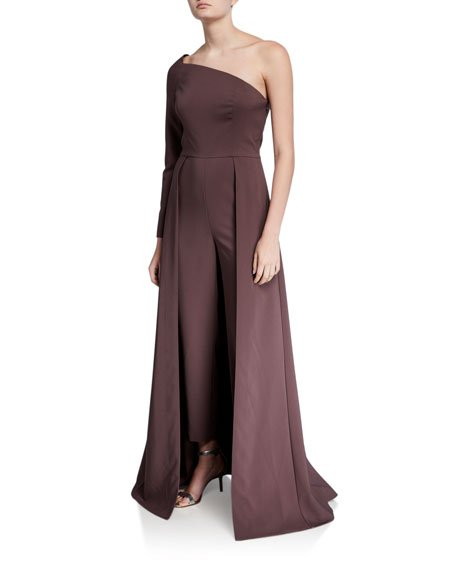 Rebecca One-Shoulder Crepe Jumpsuit with Skirt Overlay