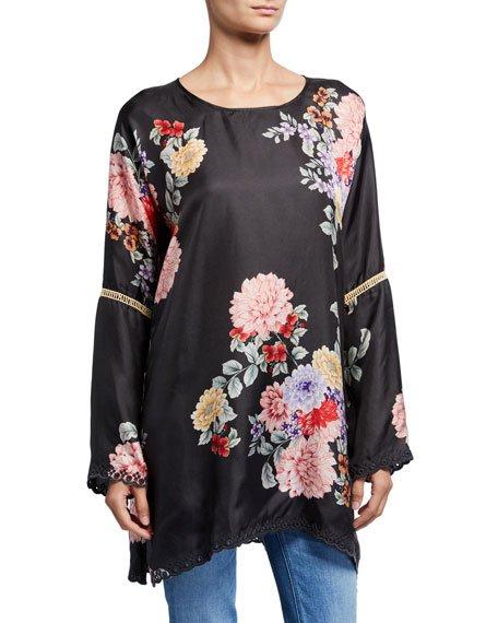 Plus Size Linden Floral Long-Sleeve Silk Top