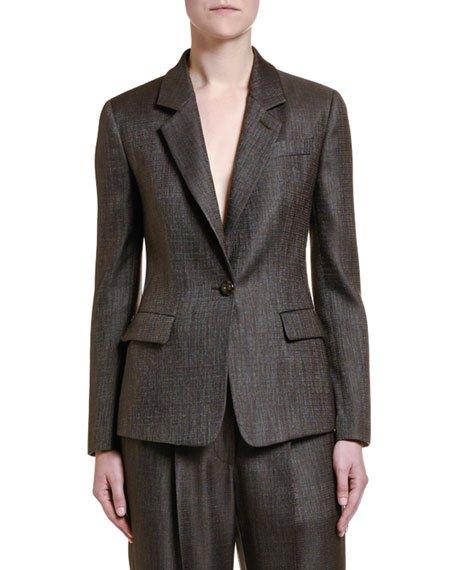 Wool-Silk One-Button Jacket