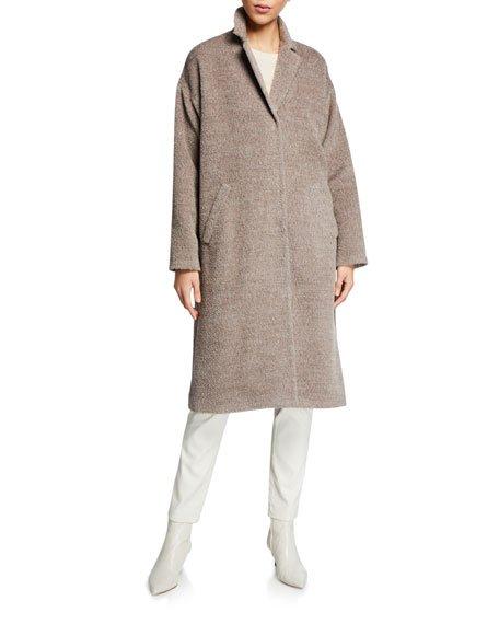 Sheared Suri Alpaca Notch-Collar Coat