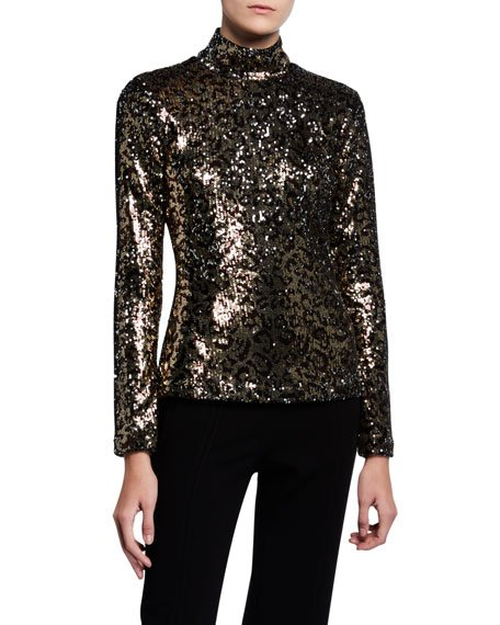 Leopard Sequins Long-Sleeve Turtleneck Top