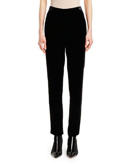 Velvet-Waist Straight-Leg Pants