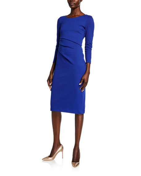 Round-Neck Ruched Jersey Dress, Cobalt