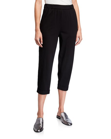 Petite Stretch Jersey Cuffed Crop Pants
