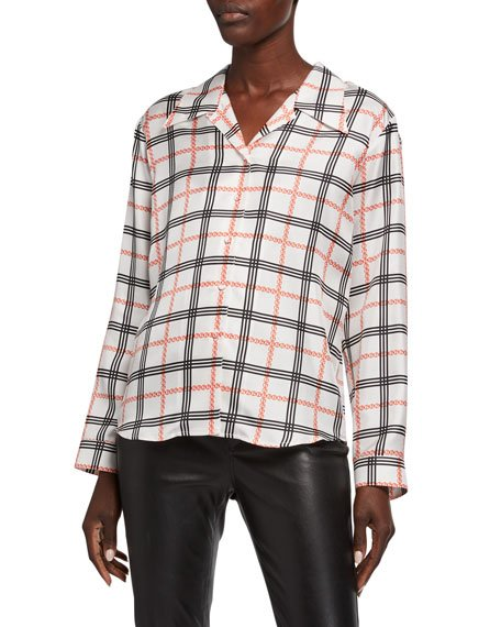 Graphic Plaid Classic Blouse