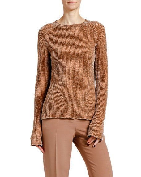 Chenille Ribbed Crewneck Sweater