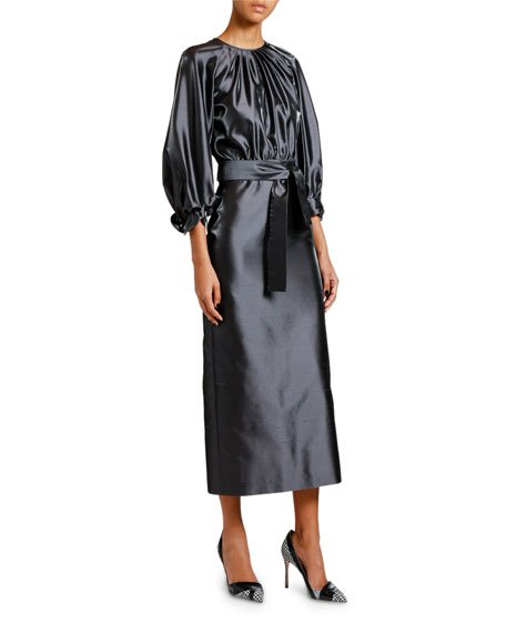 Silk Satin 3/4-Sleeve Belted Dress