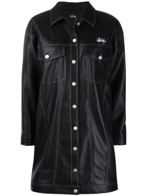Stussy Faux-Leather Single-Breasted Coat Ss20 | Farfetch.com