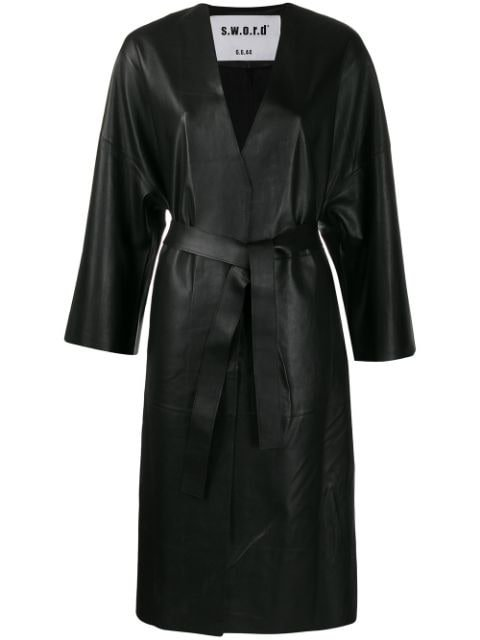 S.w.o.r.d 6.6.44 Belted Leather Coat Ss20 | Farfetch.com