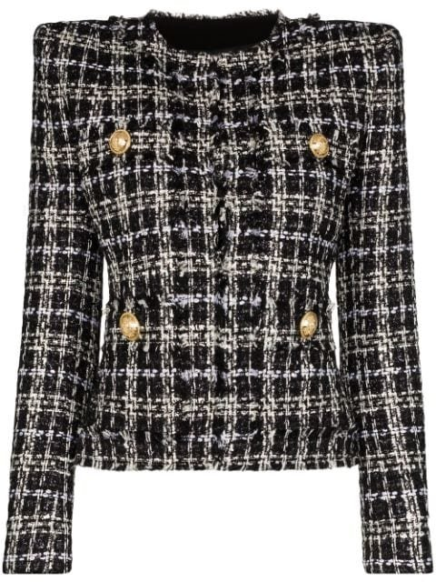 Balmain Tweed Square-Shoulder Jacket Ss20 | Farfetch.com