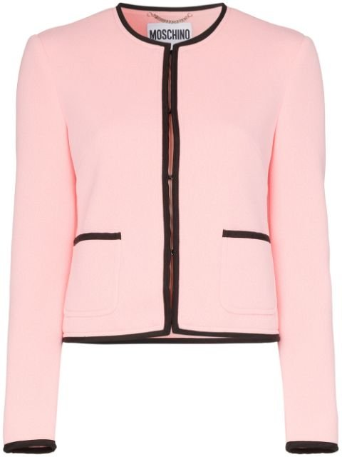 Moschino Contrast Trim Key Lock Jacket Ss20 | Farfetch.com