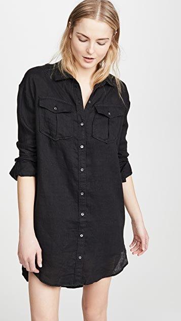 Military Linen Shirt Dress