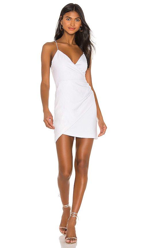 Ashanti Leather Faux Wrap Side Zip Dress