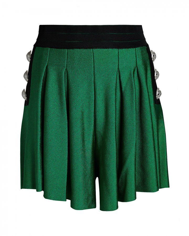 High-Rise Pleated Knit Shorts