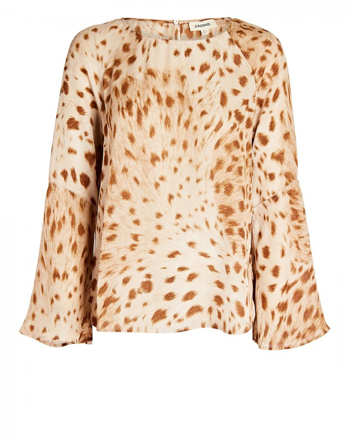 Dylan Cheetah Printed Silk Blouse