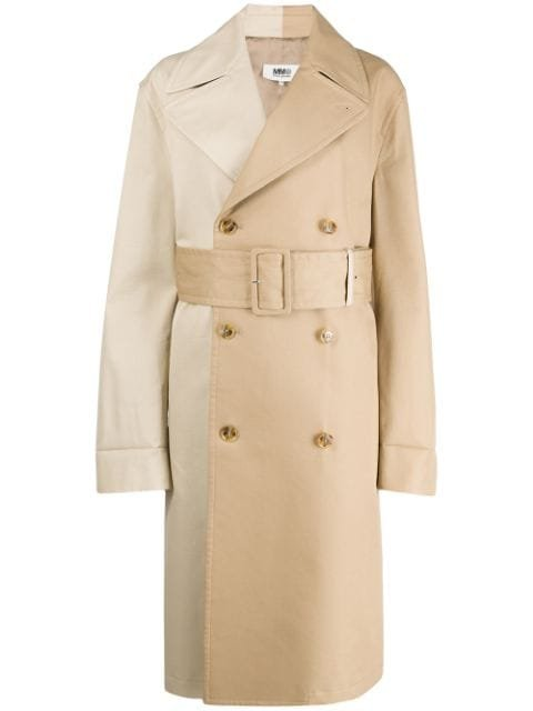 Mm6 Maison Margiela Two-Tone Belted Trench Ss20 | Farfetch.com