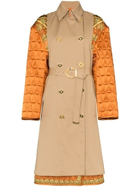 Versace Quilted Sleeve Baroque Trench Coat Ss20 | Farfetch.com