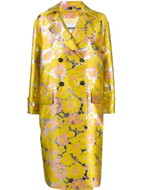 Msgm Floral Jacquard Double-Breasted Coat Ss20 | Farfetch.com