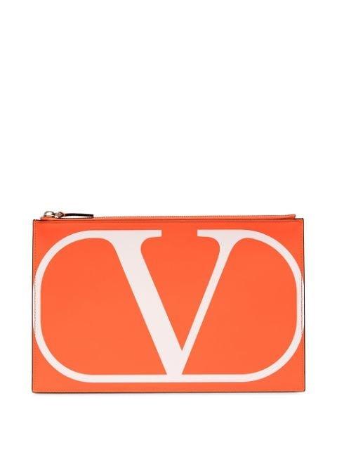 Valentino Valentino Garavani VLOGO Leather Pouch