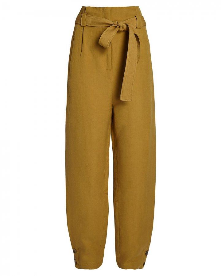 High-Rise Silk-Linen Pants