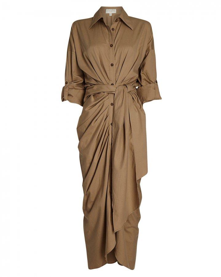 Cotton-Blend Maxi Shirt Dress