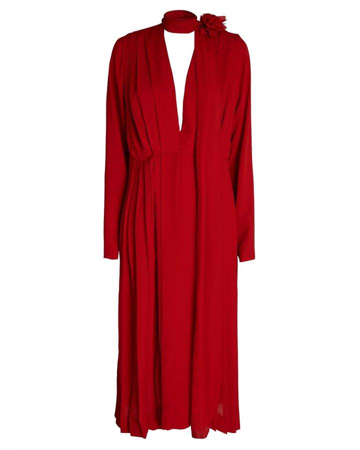 Scarf Neck Crepe Dress