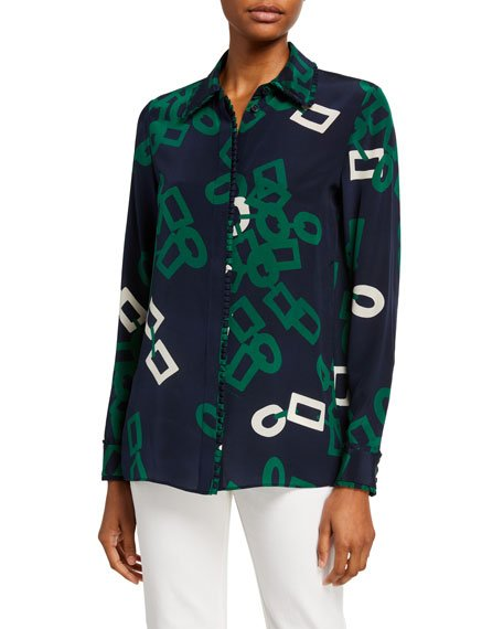Duvall Falling Link Button-Down Silk Blouse