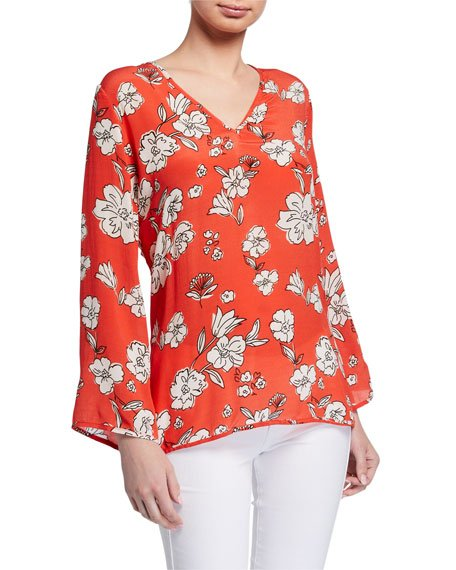 Plus Size Simone Floral Print Long-Sleeve Tunic