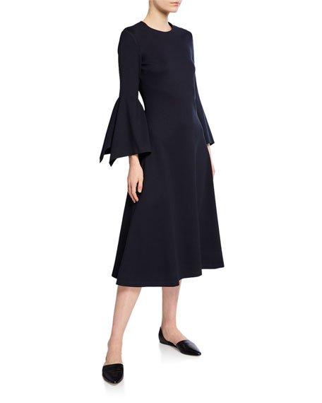 Jewel Neck Scarf Sleeve Cocktail Dress